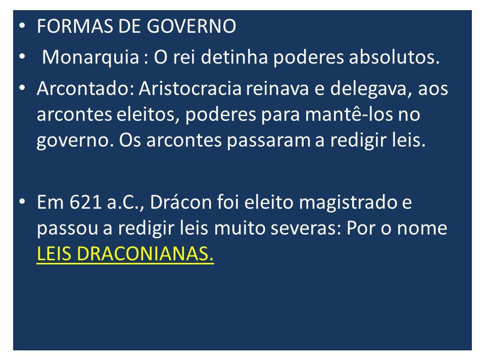 FORMAS DE GOVERNO Monarquia : O rei detinha poderes absolutos.