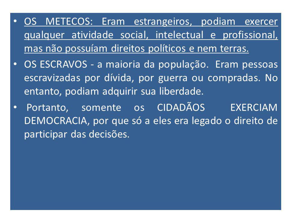 OS METECOS: Eram estrangeiros, podiam exercer qualquer atividade social, intelectual e profissional, mas não possuíam direitos políticos e nem terras.