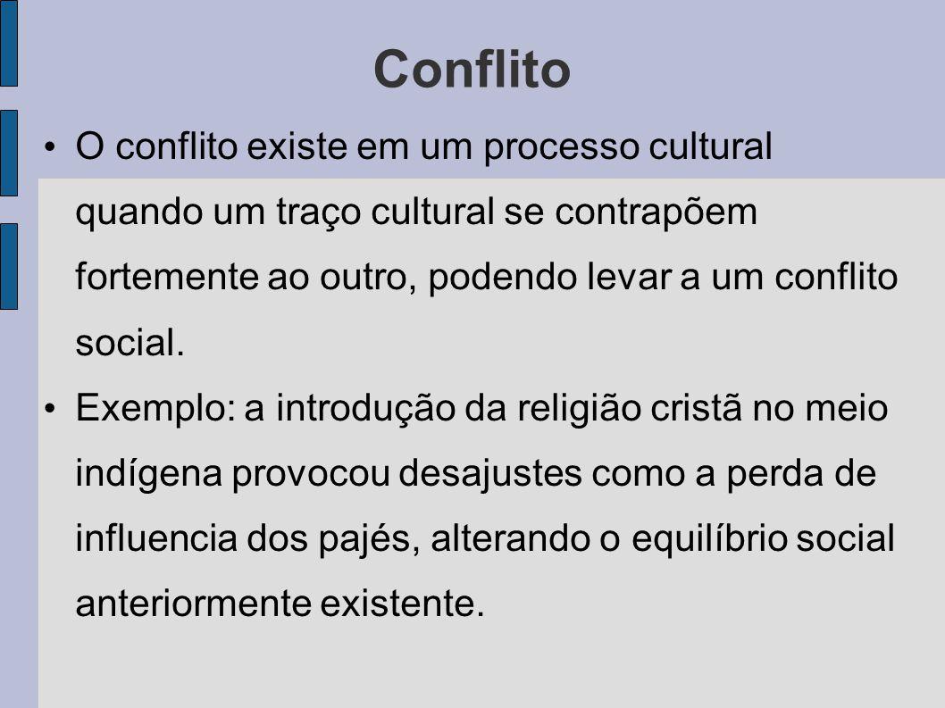 Conflito O conflito existe em um processo cultural quando um traço cultural se contrapõem fortemente ao outro, podendo levar a um conflito social.