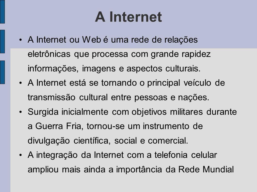 A Internet A Internet ou Web é uma rede de relações eletrônicas que processa com grande rapidez informações, imagens e aspectos culturais.