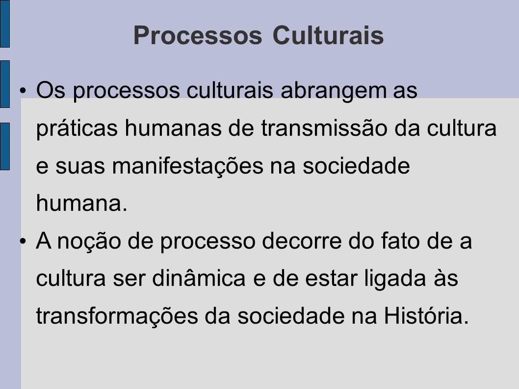 Processos Culturais Os processos culturais abrangem as práticas humanas de transmissão da cultura e suas manifestações na sociedade humana.