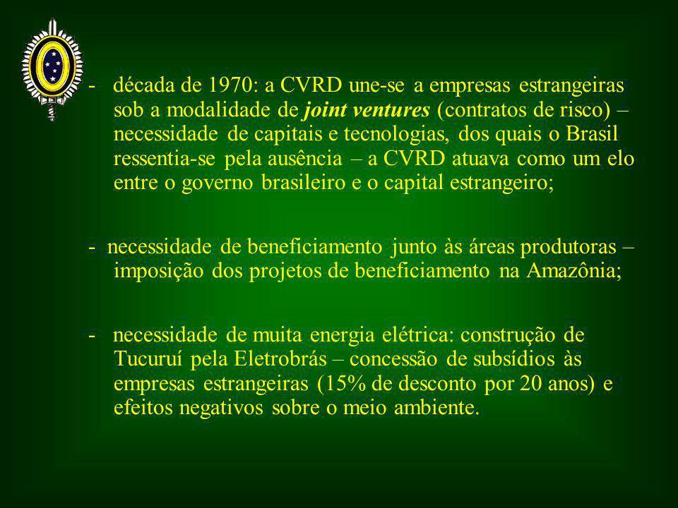 - década de 1970: a CVRD une-se a empresas estrangeiras sob a modalidade de joint ventures (contratos de risco) – necessidade de capitais e tecnologias, dos quais o Brasil ressentia-se pela ausência – a CVRD atuava como um elo entre o governo brasileiro e o capital estrangeiro;