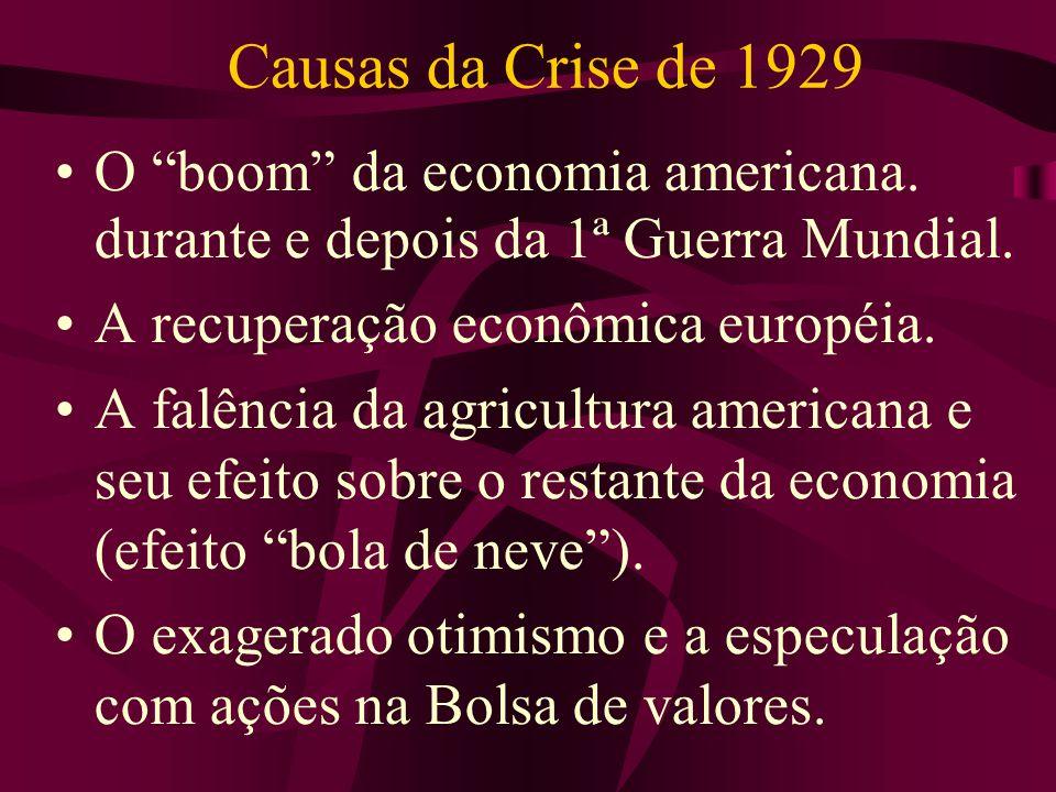 Causas da Crise de 1929 O boom da economia americana. durante e depois da 1ª Guerra Mundial. A recuperação econômica européia.