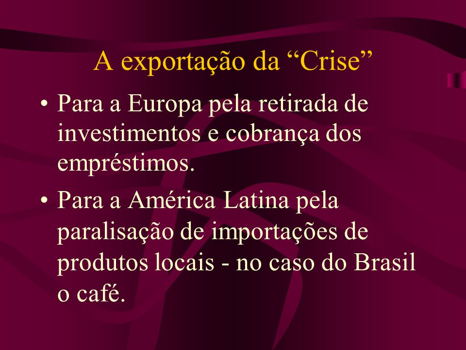 A exportação da Crise