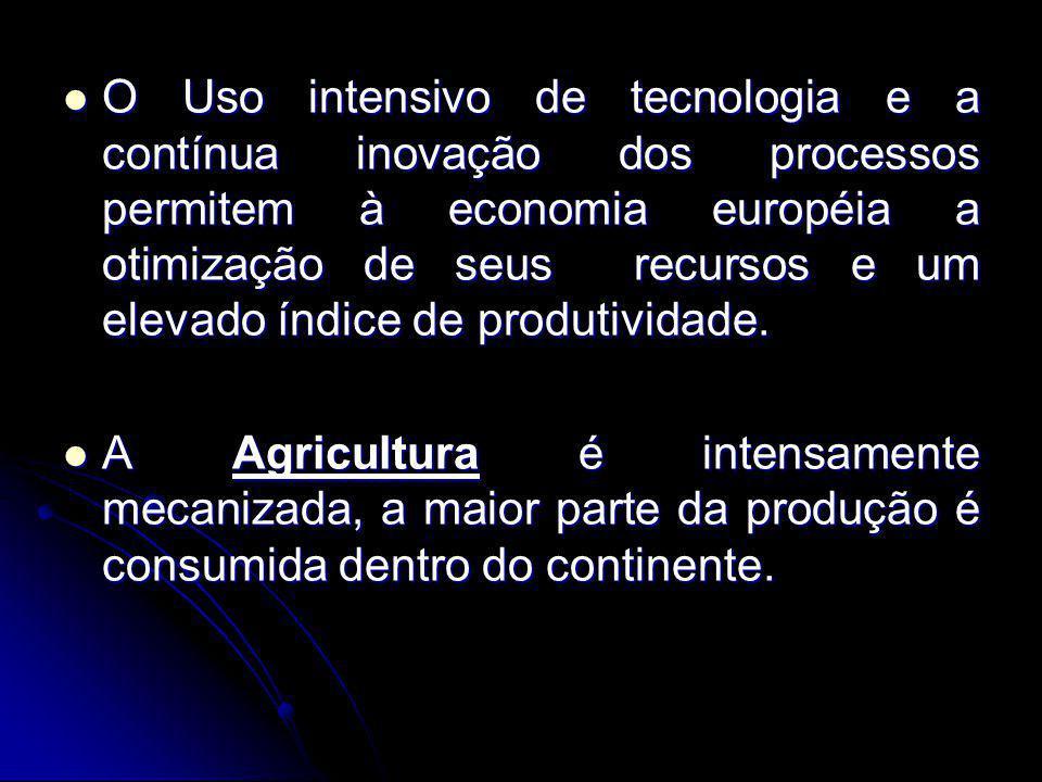 O Uso intensivo de tecnologia e a contínua inovação dos processos permitem à economia européia a otimização de seus recursos e um elevado índice de produtividade.
