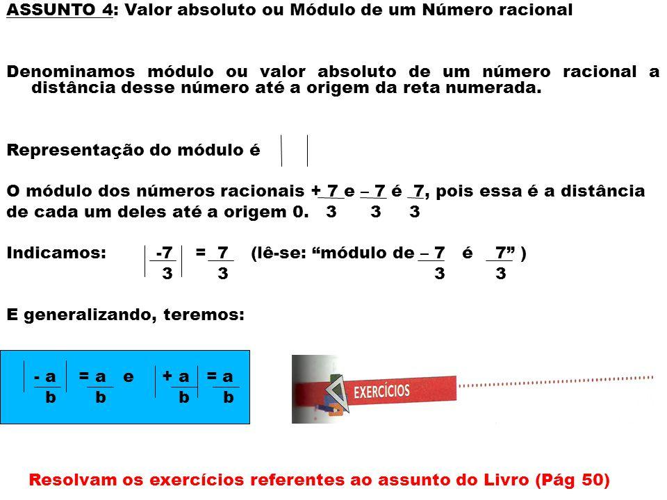 ASSUNTO 4: Valor absoluto ou Módulo de um Número racional