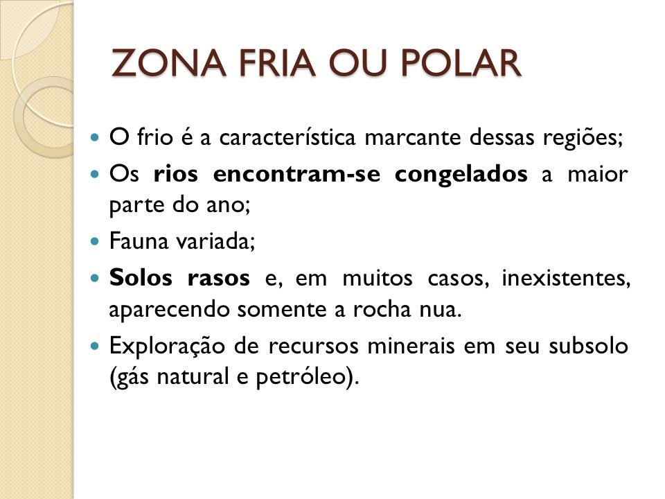 ZONA FRIA OU POLAR O frio é a característica marcante dessas regiões;