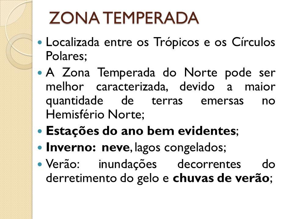 ZONA TEMPERADA Localizada entre os Trópicos e os Círculos Polares;