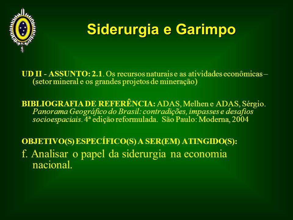 Siderurgia e Garimpo UD II - ASSUNTO: 2.1. Os recursos naturais e as atividades econômicas – (setor mineral e os grandes projetos de mineração)