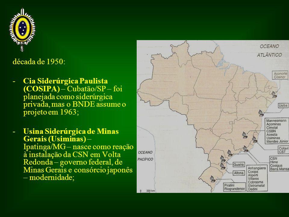 década de 1950: - Cia Siderúrgica Paulista (COSIPA) – Cubatão/SP – foi planejada como siderúrgica privada, mas o BNDE assume o projeto em 1963;