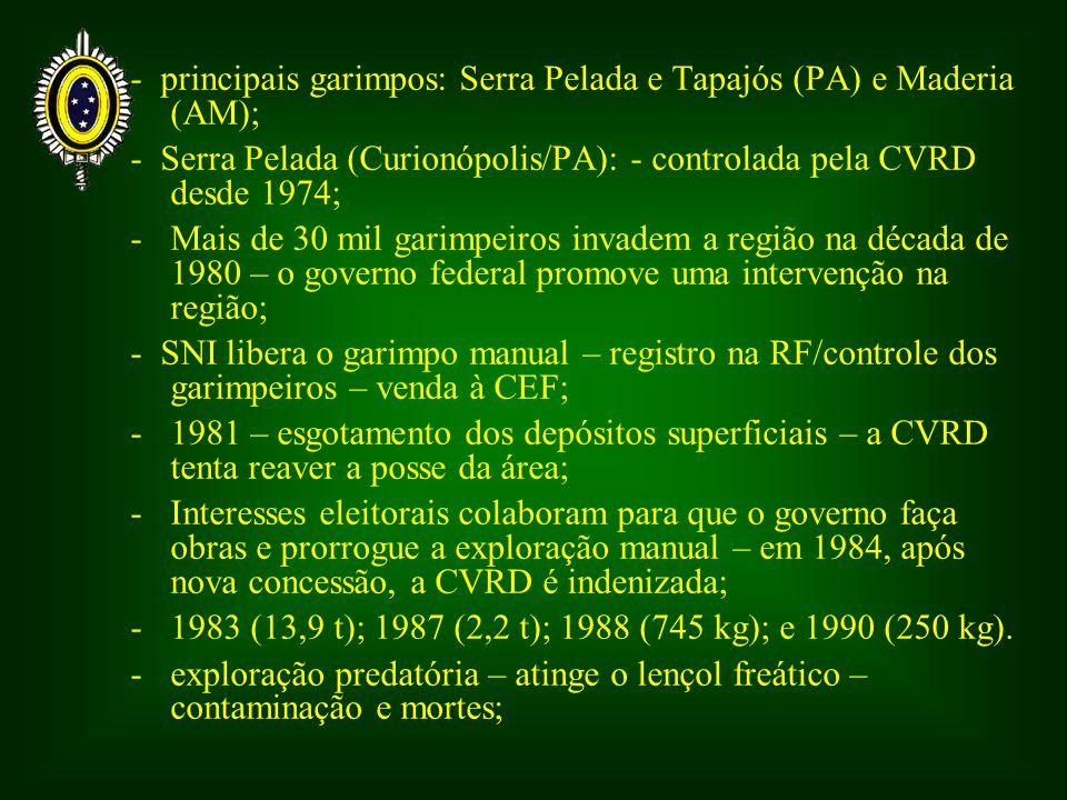 - principais garimpos: Serra Pelada e Tapajós (PA) e Maderia (AM);