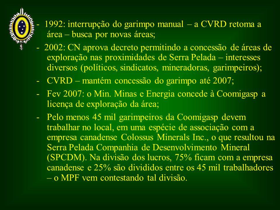 - 1992: interrupção do garimpo manual – a CVRD retoma a área – busca por novas áreas;