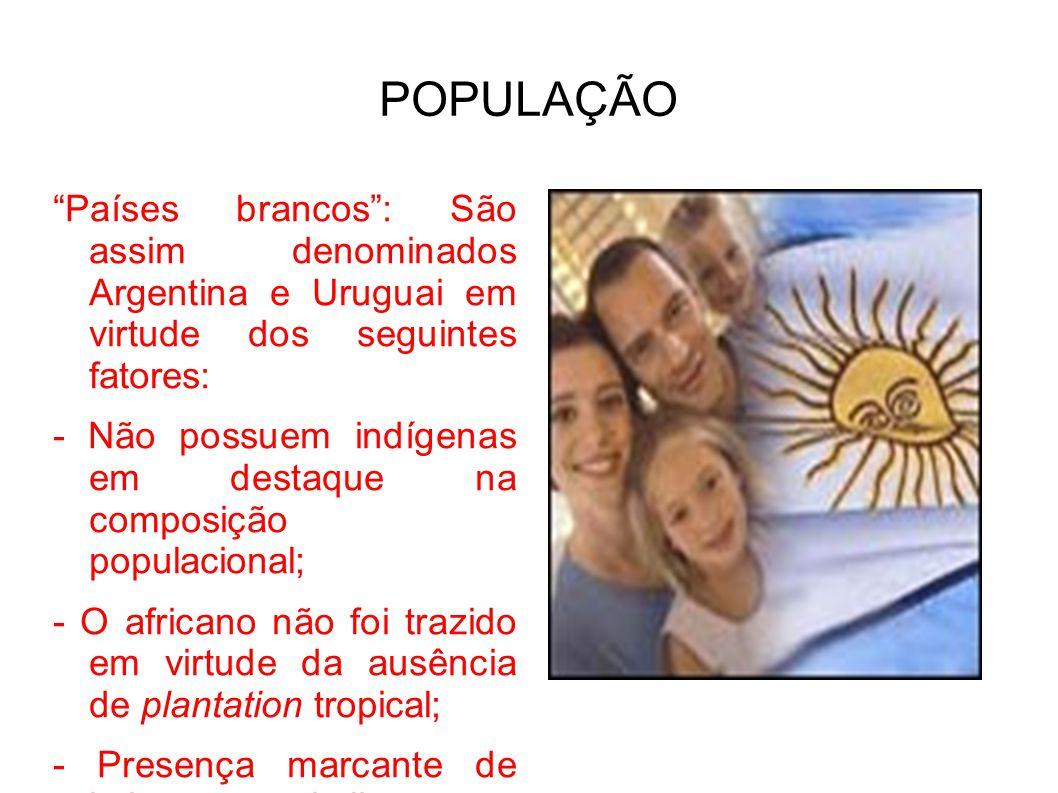 POPULAÇÃO Países brancos : São assim denominados Argentina e Uruguai em virtude dos seguintes fatores: