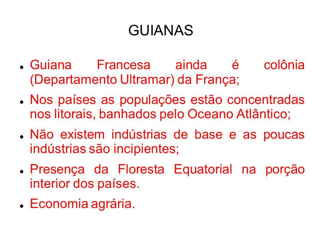 GUIANAS Guiana Francesa ainda é colônia (Departamento Ultramar) da França;