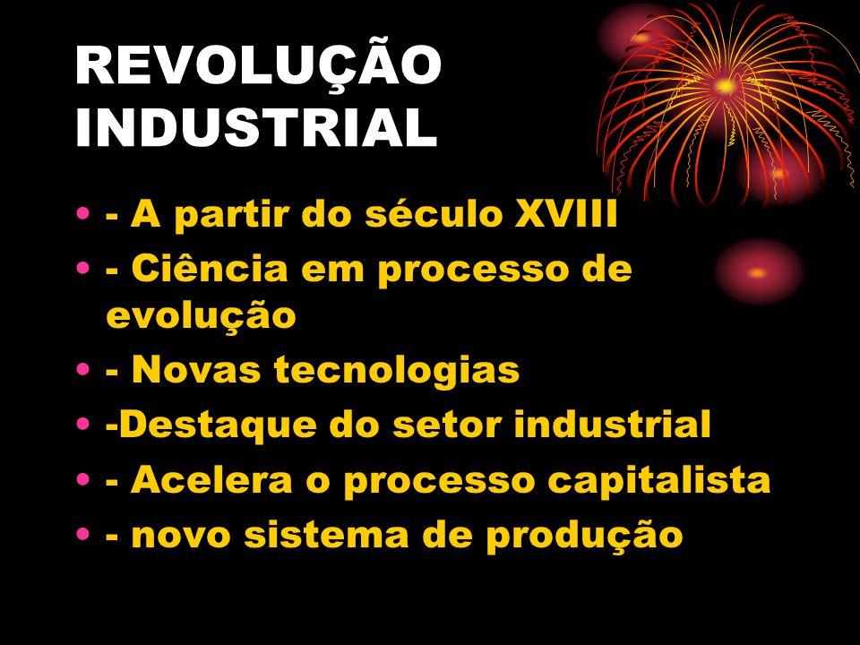 REVOLUÇÃO INDUSTRIAL - A partir do século XVIII