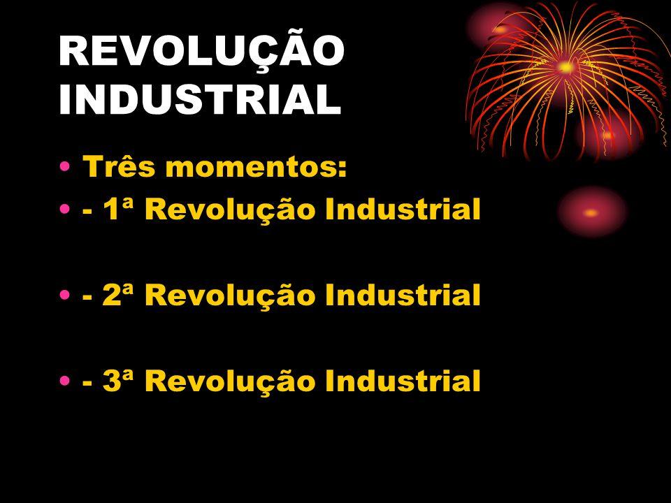 REVOLUÇÃO INDUSTRIAL Três momentos: - 1ª Revolução Industrial