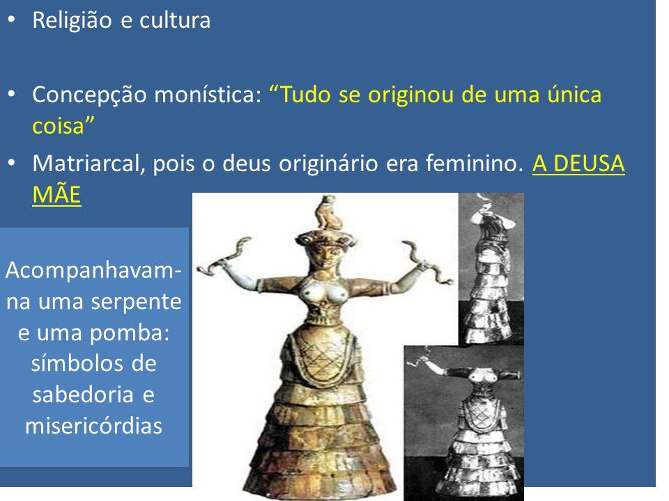 Religião e cultura Concepção monística: Tudo se originou de uma única coisa Matriarcal, pois o deus originário era feminino. A DEUSA MÃE.
