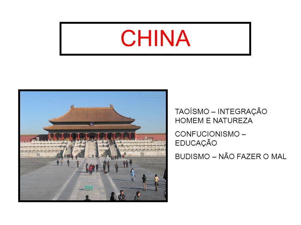 CHINA TAOÍSMO – INTEGRAÇÃO HOMEM E NATUREZA CONFUCIONISMO – EDUCAÇÃO