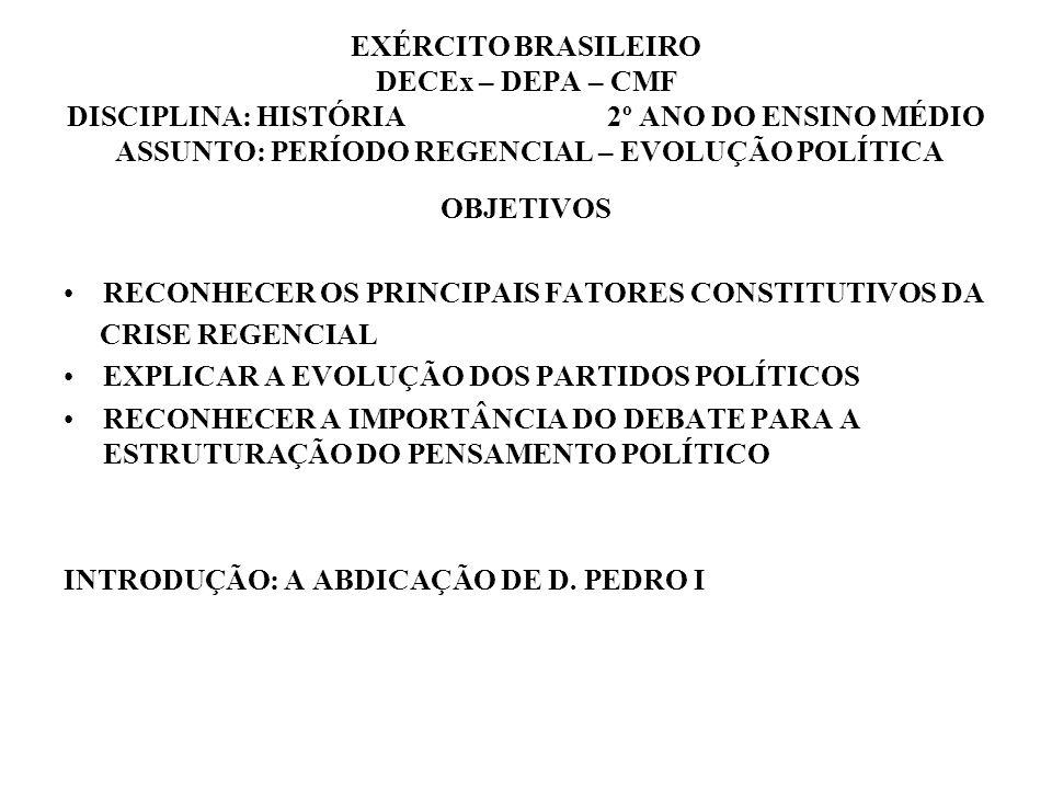 EXÉRCITO BRASILEIRO DECEx – DEPA – CMF DISCIPLINA: HISTÓRIA 2º ANO DO ENSINO MÉDIO ASSUNTO: PERÍODO REGENCIAL – EVOLUÇÃO POLÍTICA