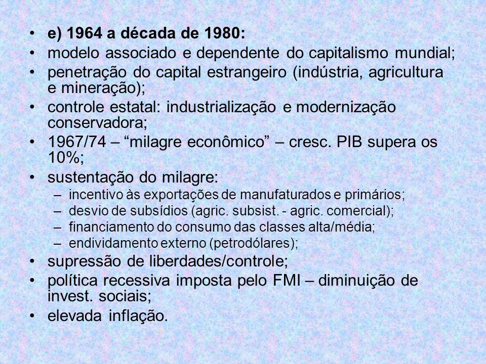 modelo associado e dependente do capitalismo mundial;