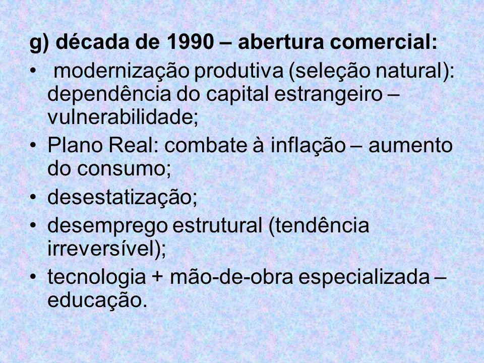 g) década de 1990 – abertura comercial: