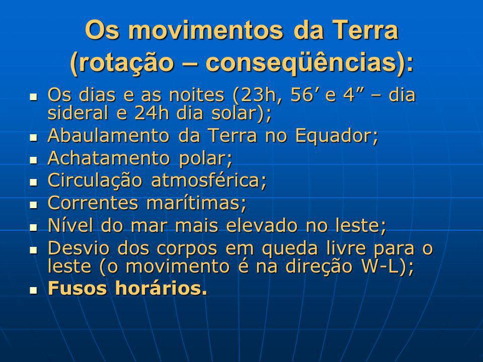 Os movimentos da Terra (rotação – conseqüências):