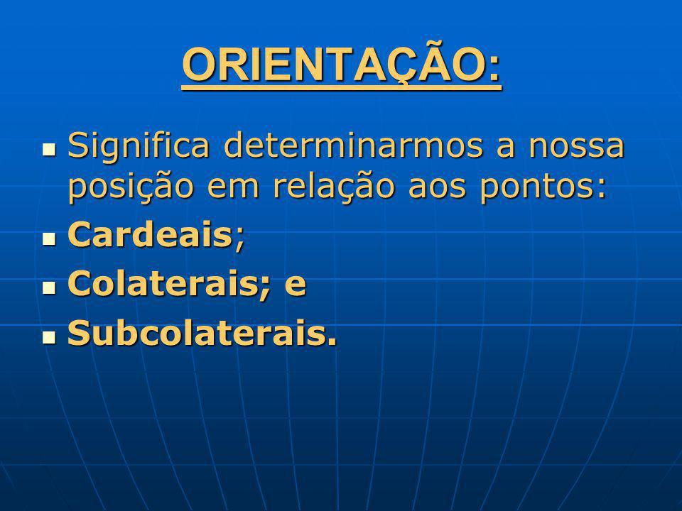 ORIENTAÇÃO: Significa determinarmos a nossa posição em relação aos pontos: Cardeais; Colaterais; e.