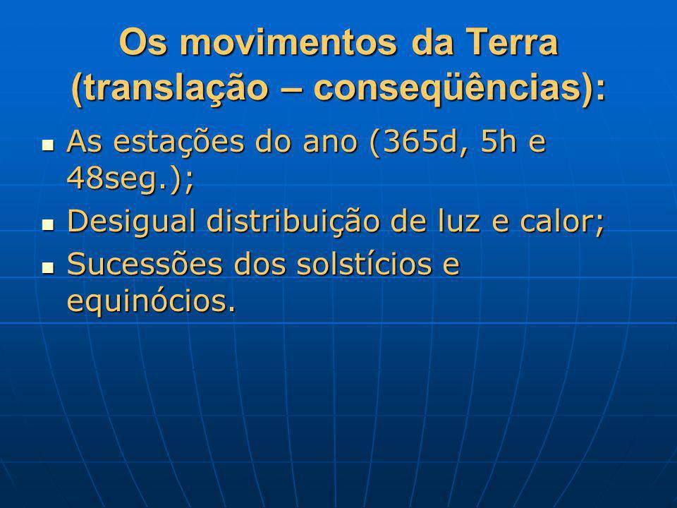 Os movimentos da Terra (translação – conseqüências):