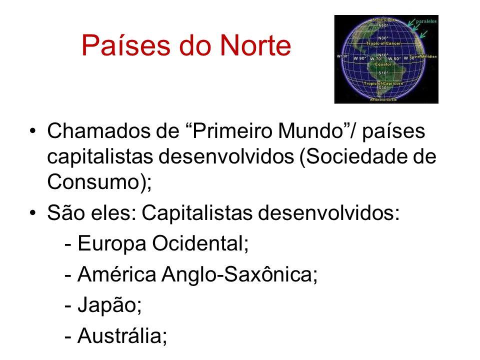 Países do Norte Chamados de Primeiro Mundo / países capitalistas desenvolvidos (Sociedade de Consumo);