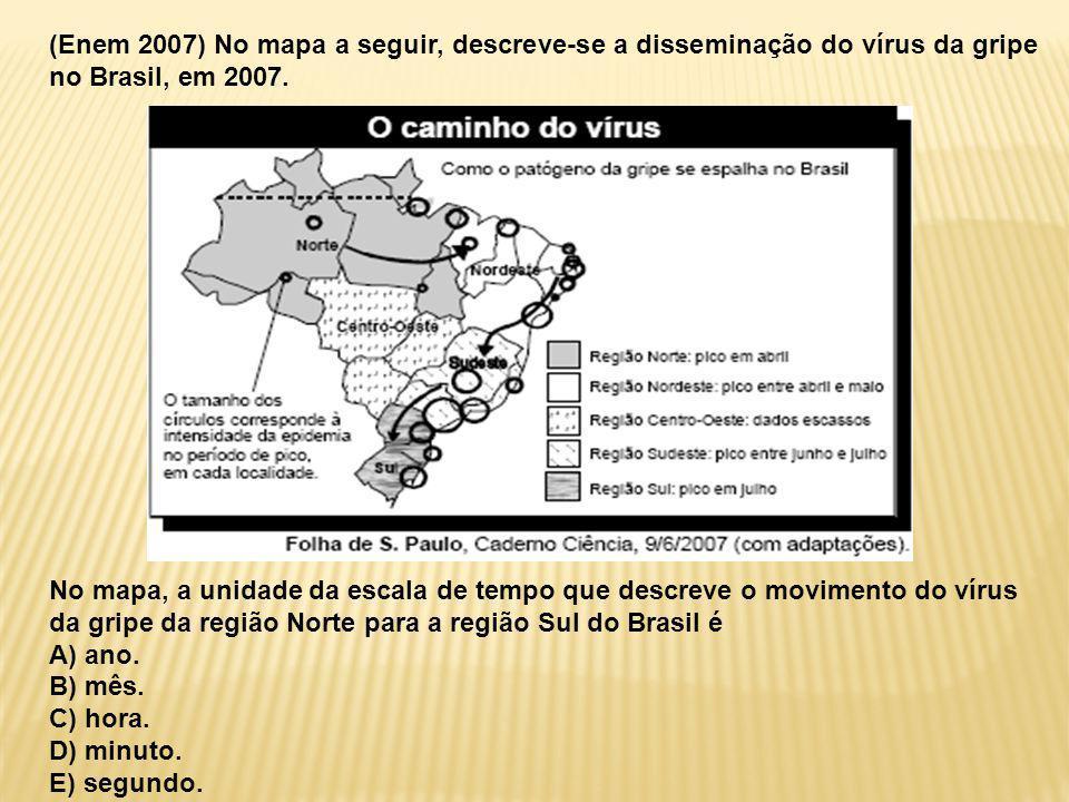 (Enem 2007) No mapa a seguir, descreve-se a disseminação do vírus da gripe no Brasil, em 2007.