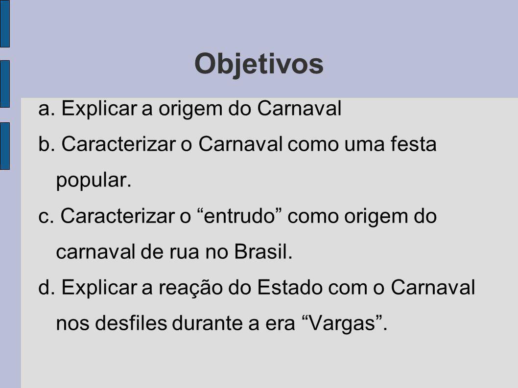 Objetivos a. Explicar a origem do Carnaval