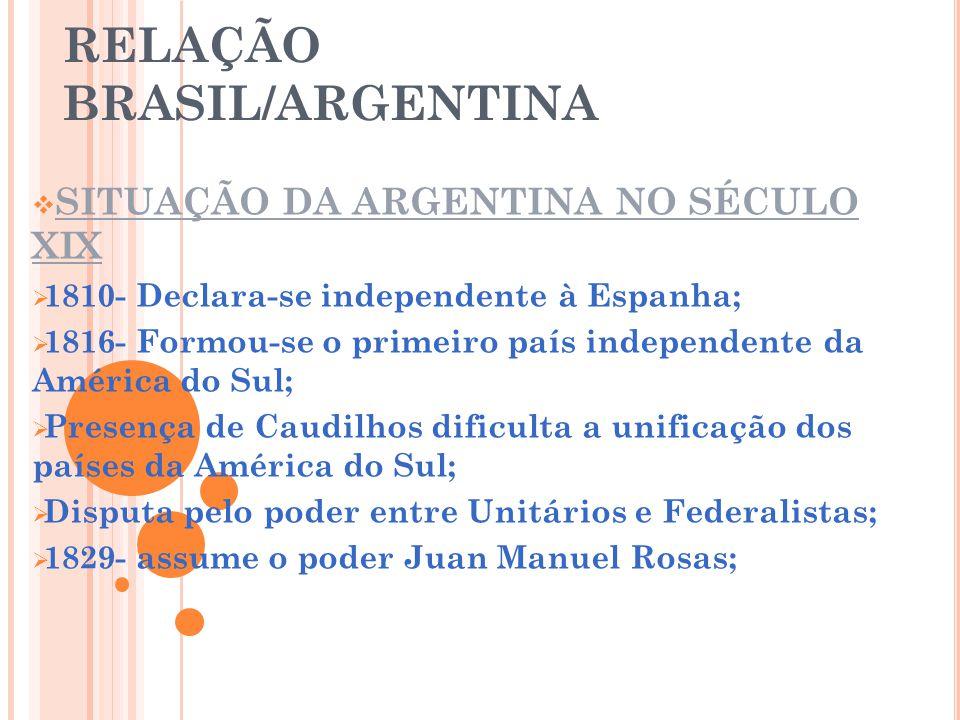 RELAÇÃO BRASIL/ARGENTINA