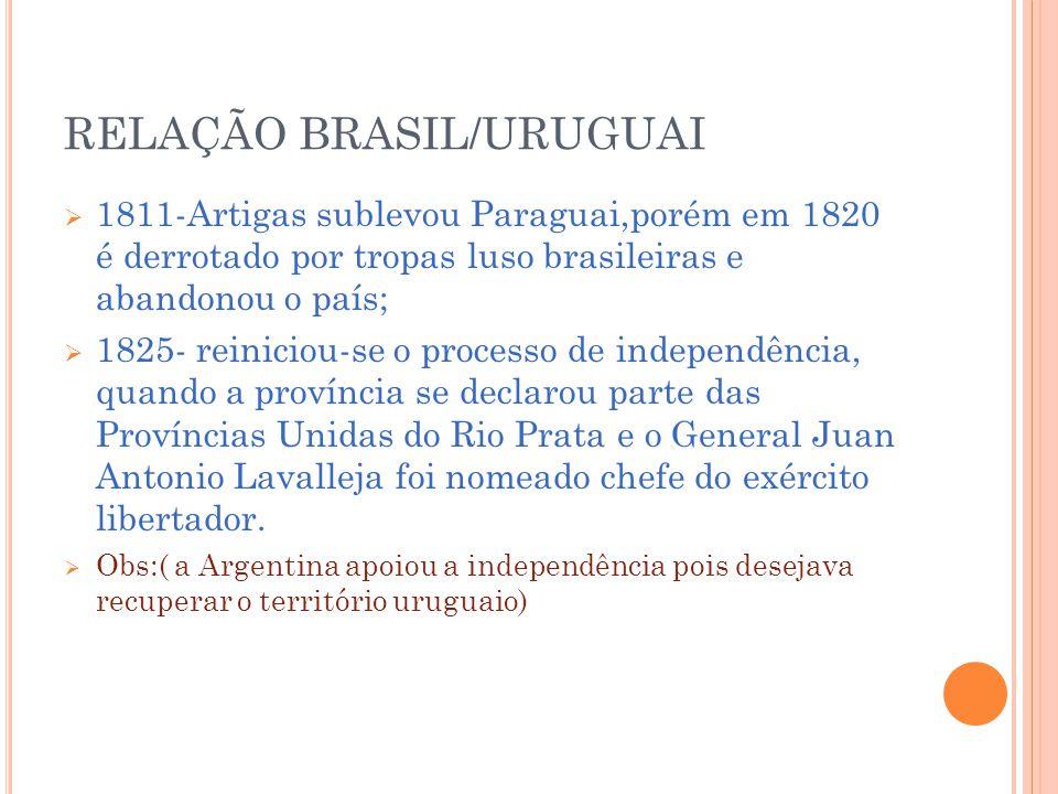 RELAÇÃO BRASIL/URUGUAI
