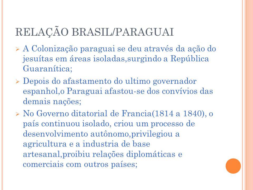 RELAÇÃO BRASIL/PARAGUAI