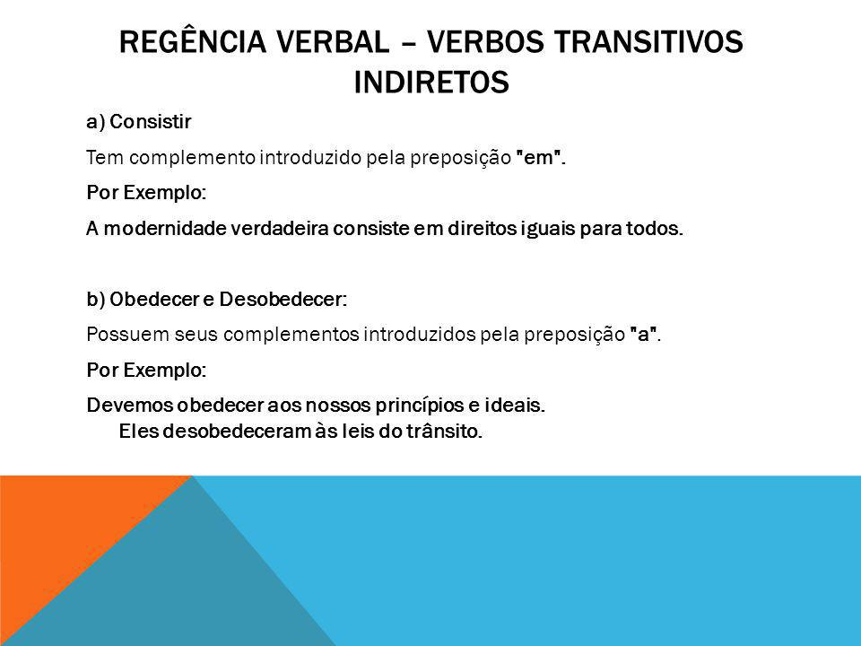Regência verbal – verbos transitivos indiretos