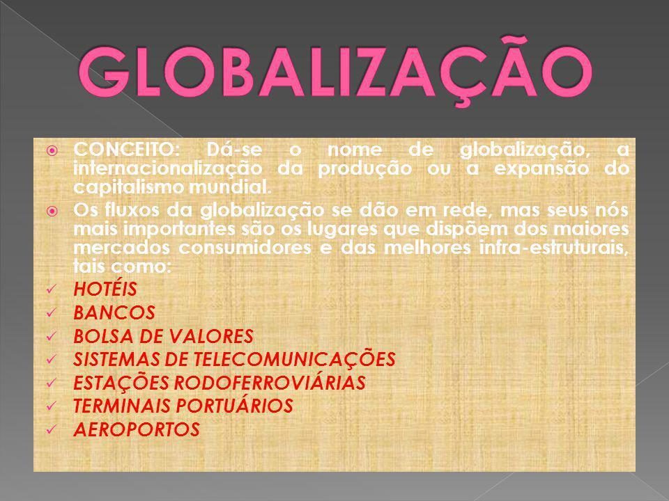 GLOBALIZAÇÃO CONCEITO: Dá-se o nome de globalização, a internacionalização da produção ou a expansão do capitalismo mundial.