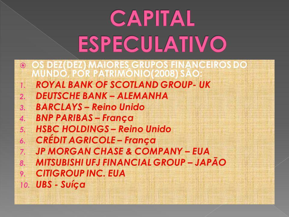 CAPITAL ESPECULATIVO OS DEZ(DEZ) MAIORES GRUPOS FINANCEIROS DO MUNDO, POR PATRIMÔNIO(2008) SÃO: ROYAL BANK OF SCOTLAND GROUP- UK.