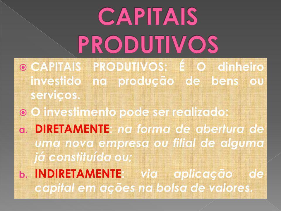CAPITAIS PRODUTIVOS CAPITAIS PRODUTIVOS: É O dinheiro investido na produção de bens ou serviços. O investimento pode ser realizado:
