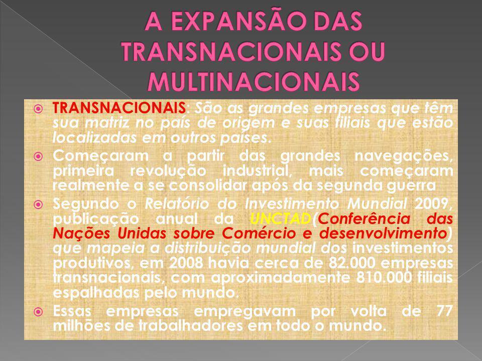 A EXPANSÃO DAS TRANSNACIONAIS OU MULTINACIONAIS