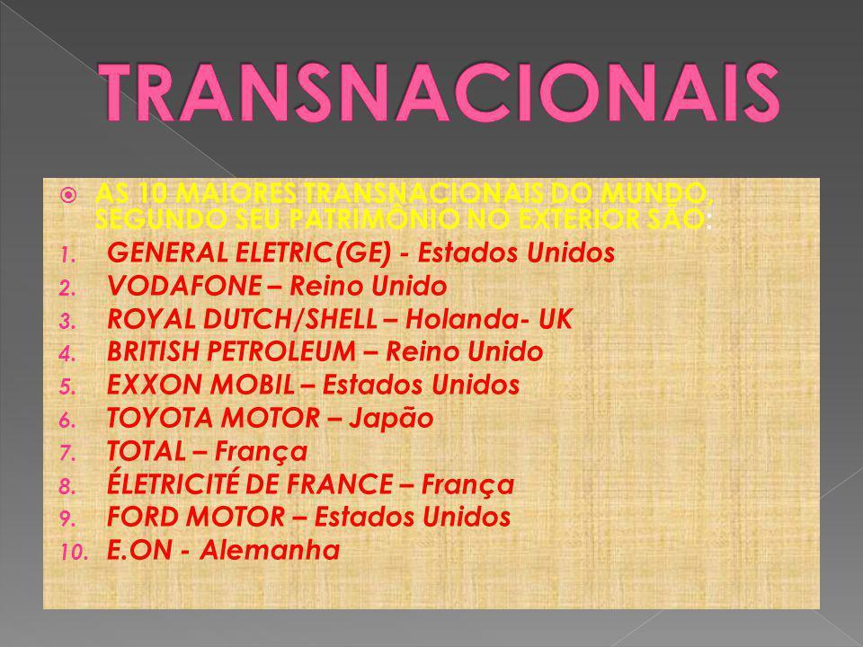 TRANSNACIONAIS AS 10 MAIORES TRANSNACIONAIS DO MUNDO, SEGUNDO SEU PATRIMÔNIO NO EXTERIOR SÃO: GENERAL ELETRIC(GE) - Estados Unidos.