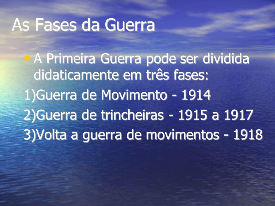 As Fases da Guerra A Primeira Guerra pode ser dividida didaticamente em três fases: 1)Guerra de Movimento - 1914.