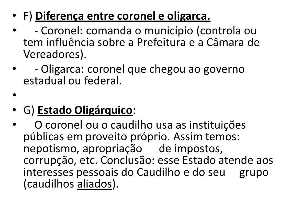 F) Diferença entre coronel e oligarca.