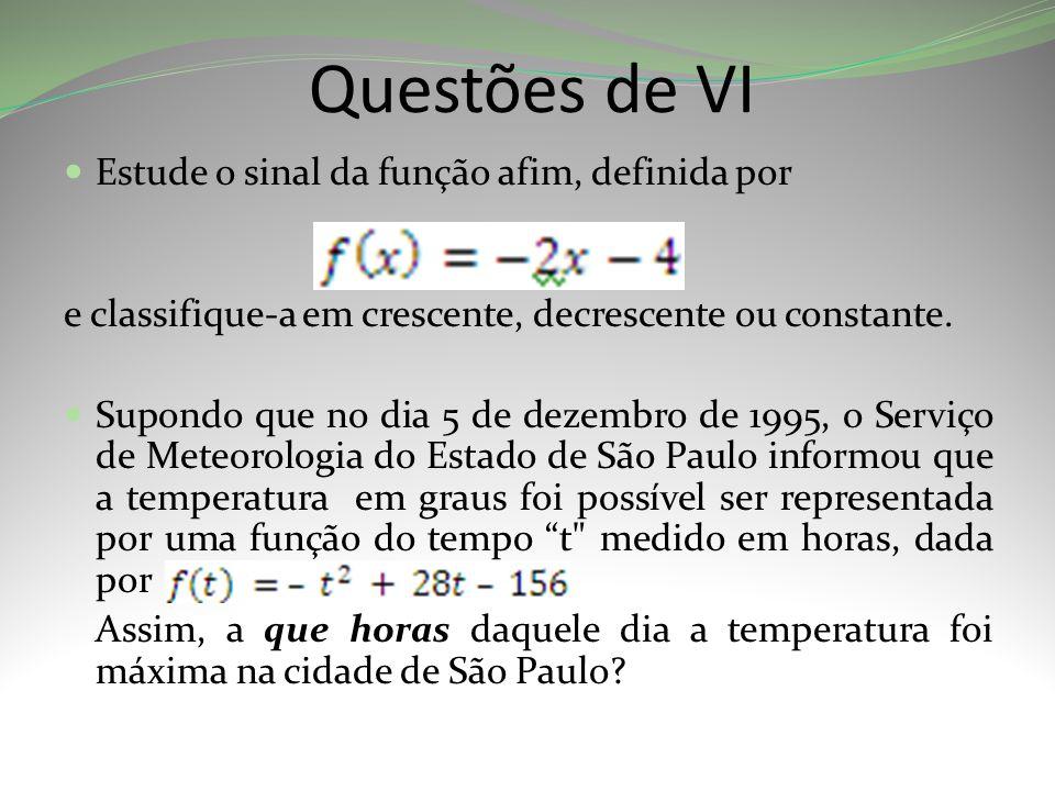 Questões de VI Estude o sinal da função afim, definida por