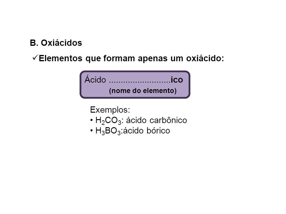 B. Oxiácidos Elementos que formam apenas um oxiácido: Ácido ..........................ico. (nome do elemento)