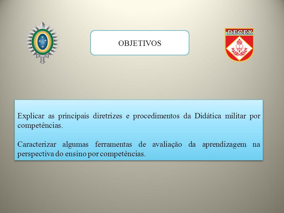 OBJETIVOS Explicar as principais diretrizes e procedimentos da Didática militar por competências.