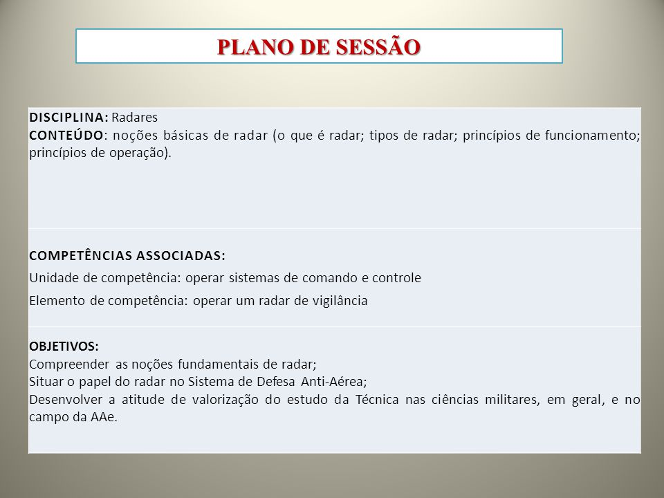 PLANO DE SESSÃO Disciplina: Radares