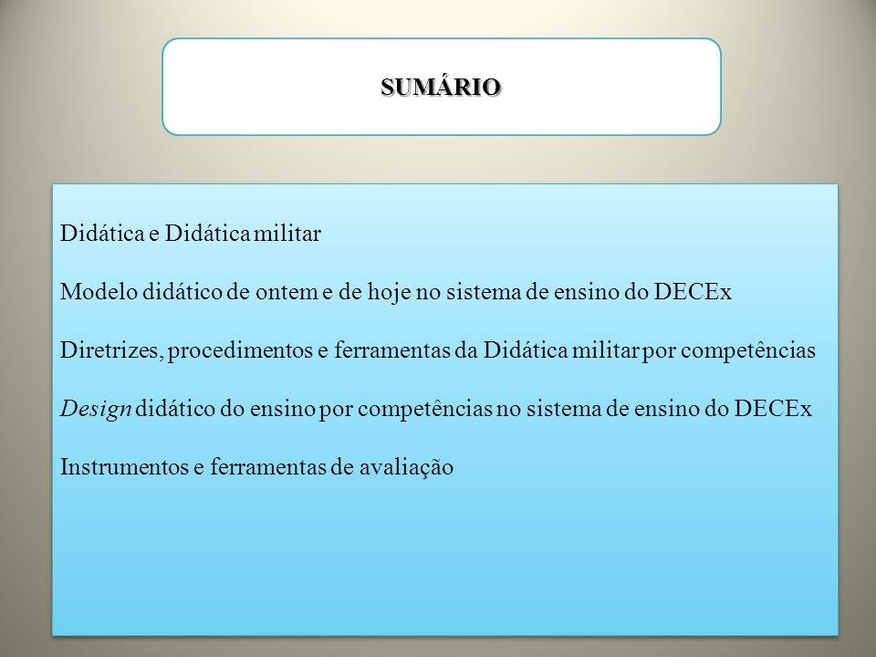 SUMÁRIO Didática e Didática militar. Modelo didático de ontem e de hoje no sistema de ensino do DECEx.