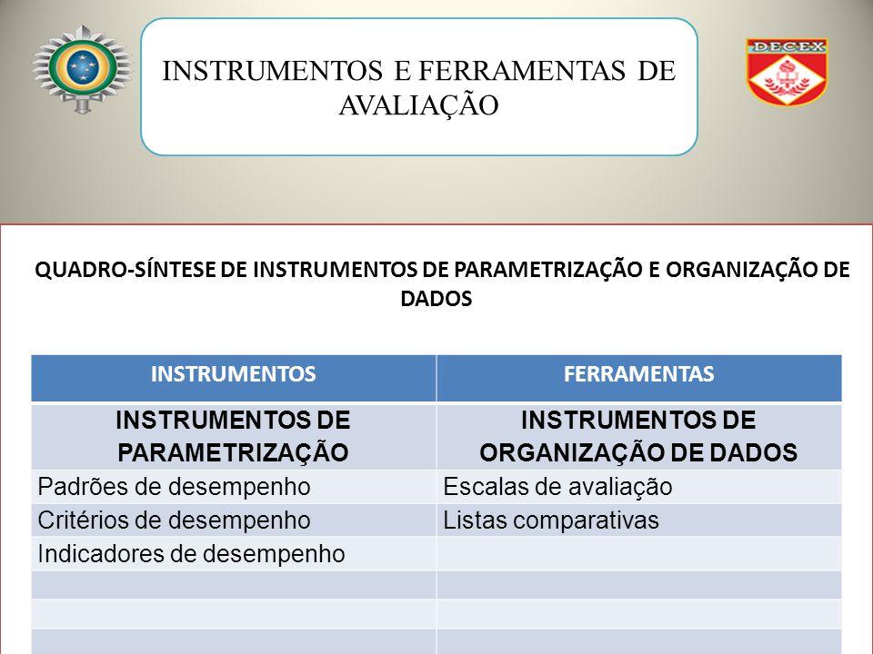 INSTRUMENTOS DE PARAMETRIZAÇÃO INSTRUMENTOS DE ORGANIZAÇÃO DE DADOS