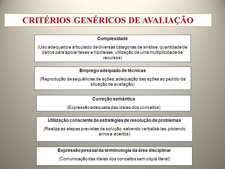 CRITÉRIOS GENÉRICOS DE AVALIAÇÃO