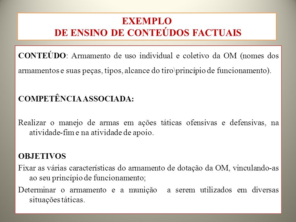 DE ENSINO DE CONTEÚDOS FACTUAIS